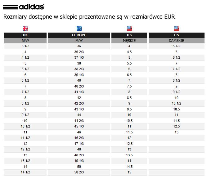 adidas buty tabela rozmiarów online|Darmowa dostawa!