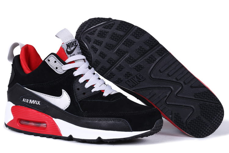 hot sales f2b6c b0aaf Nike Air Max 90 SneakerBoot PRM CzarneCzerwoneBiałe 4shoes.p